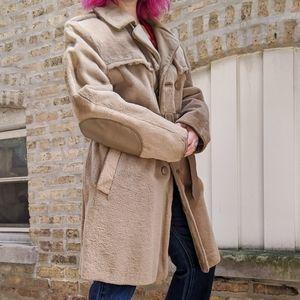 VTG 70s beige fur trench coat